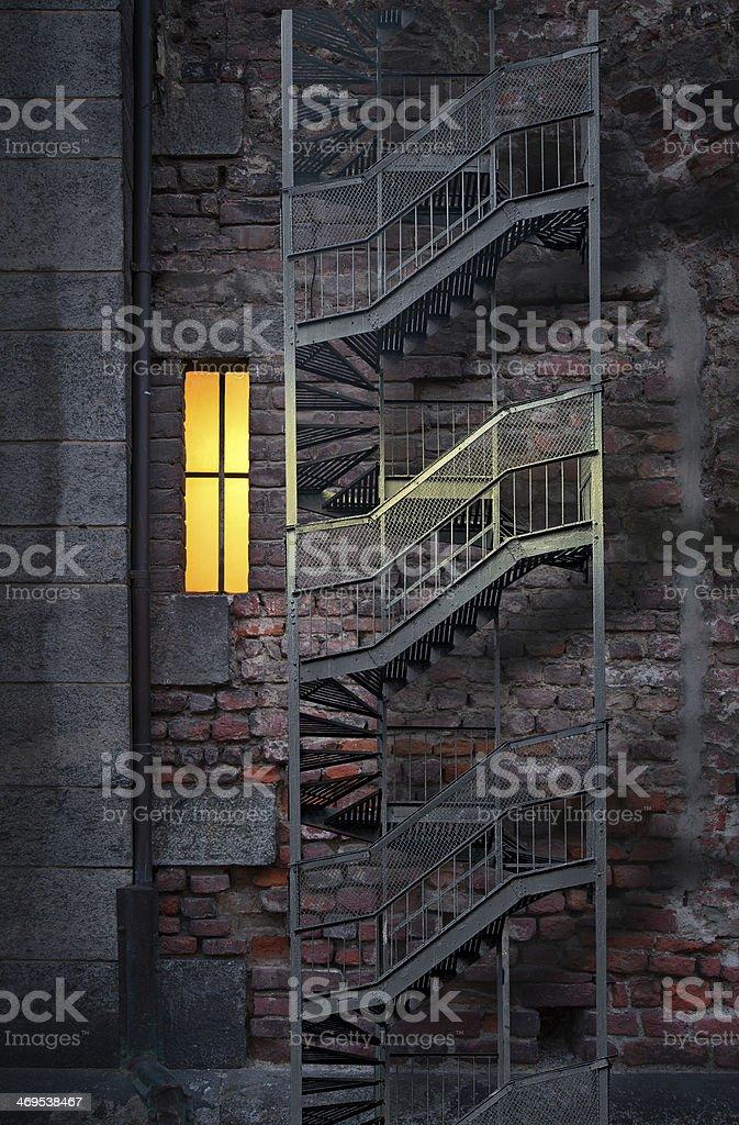 Brick wall with window stock photo