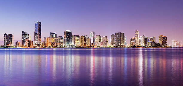 Brickell and Miami City Skyline at Night in Florida USA stock photo