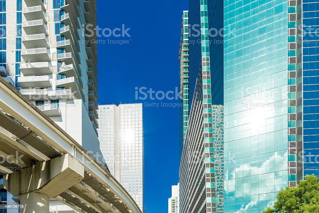 Brickell district in Miami downtown in Florida, USA stock photo
