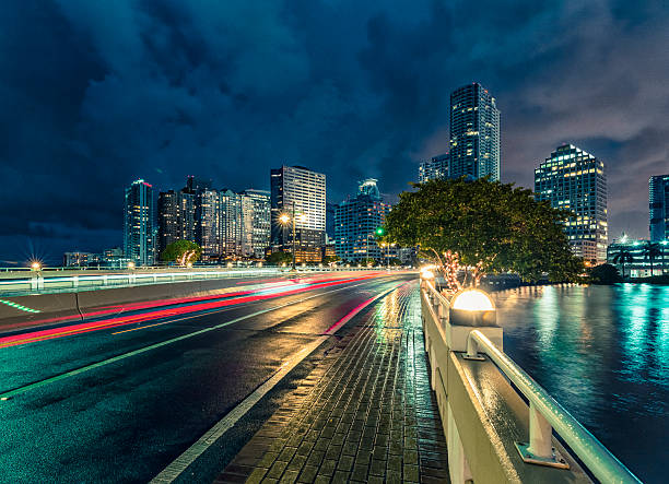 Brickell - Miami at Night stock photo