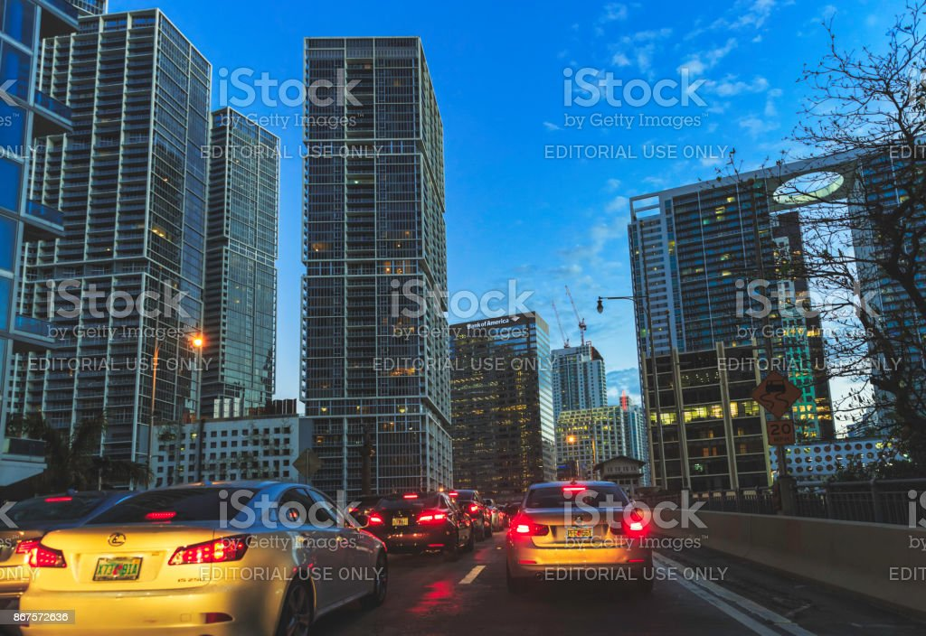 Brickell - Miami at Twilight stock photo
