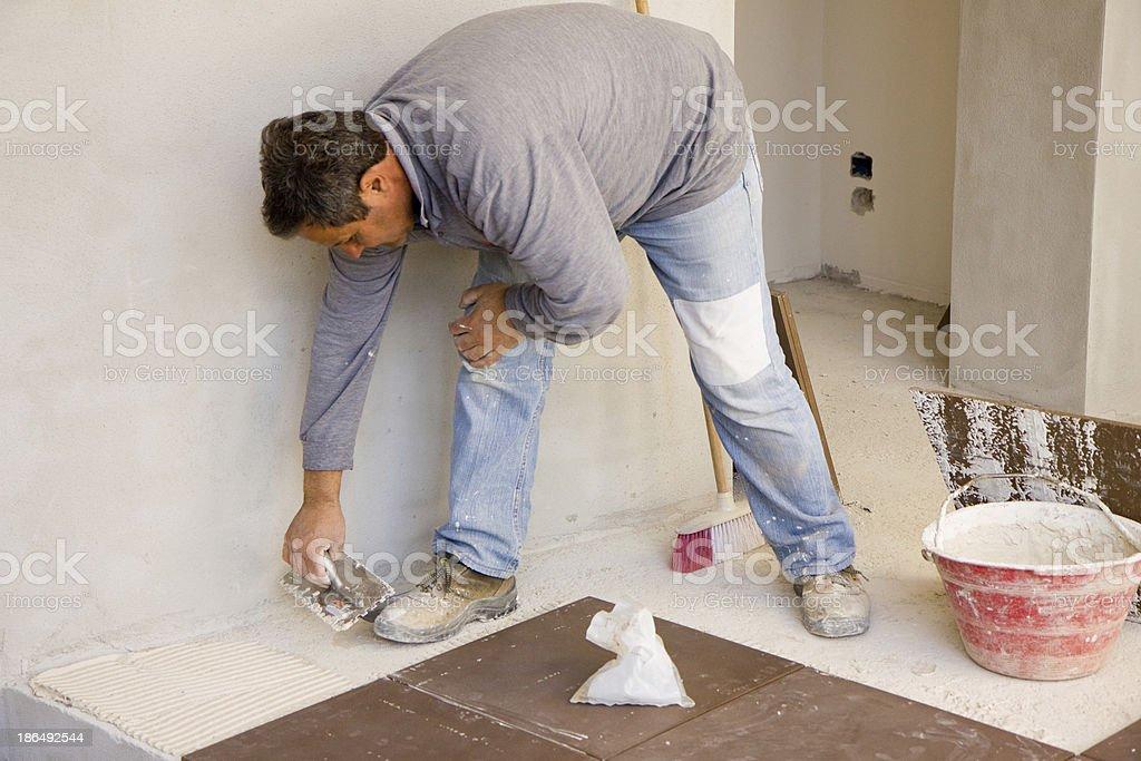 bricklayer at work royalty-free stock photo