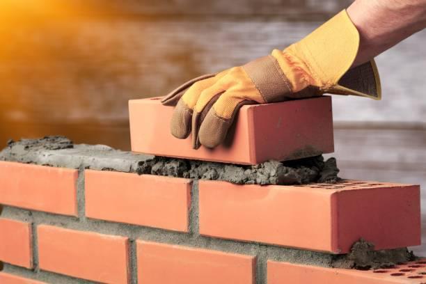 Bricklayer. stock photo