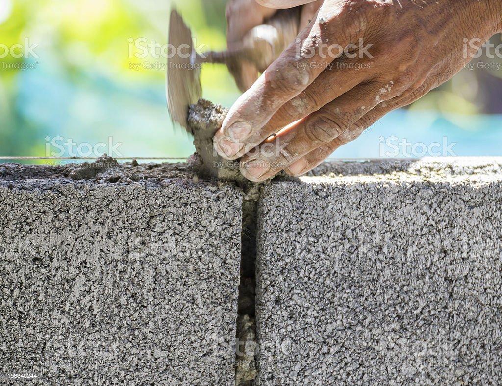 Bricklayer stock photo