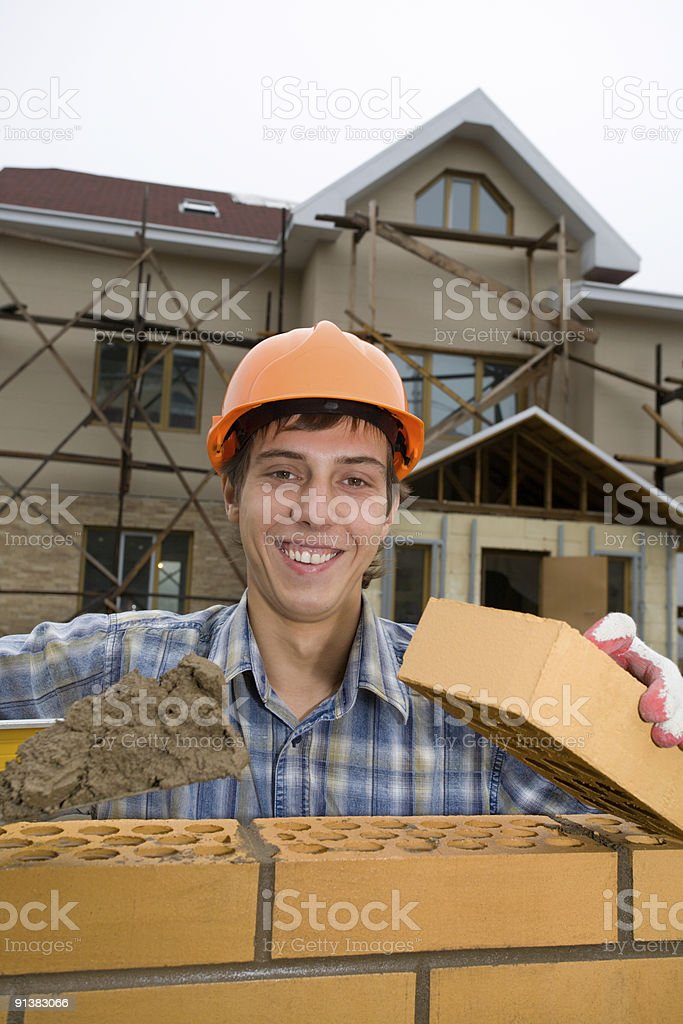 bricklayer royalty-free stock photo
