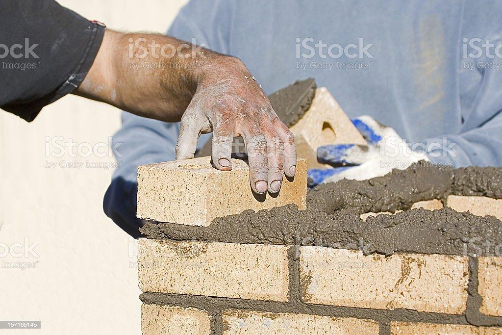 Bricklayers Laying Bricks. royalty-free stock photo