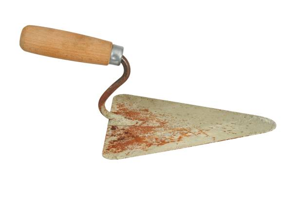 Bricklayer's trowel on white stock photo