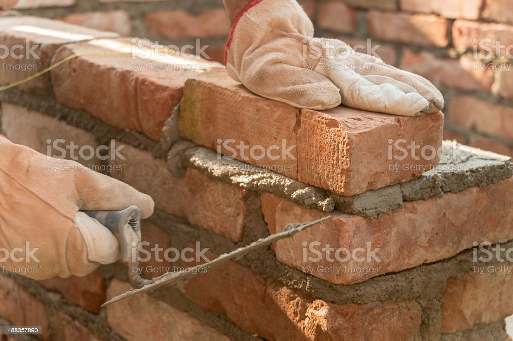 Bricklaying stock photo