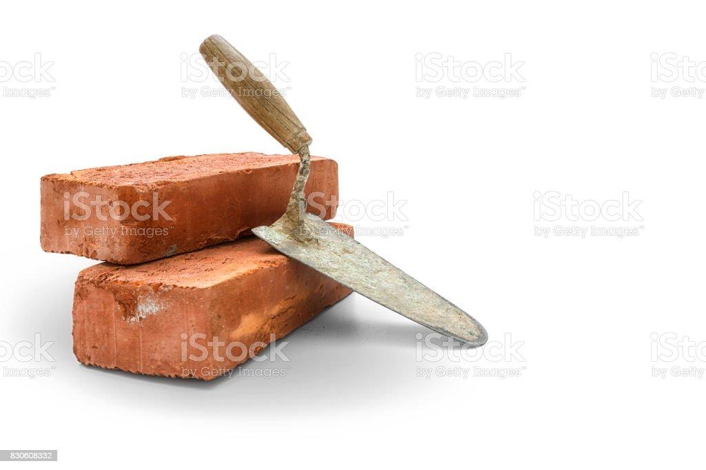 Bricks and trowel stock photo