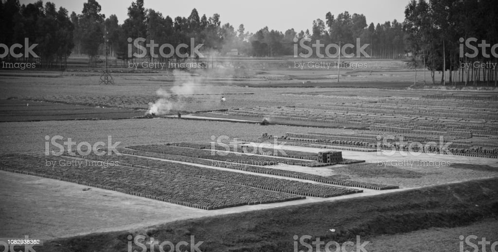 A bricks field around an urban area unique photo stock photo