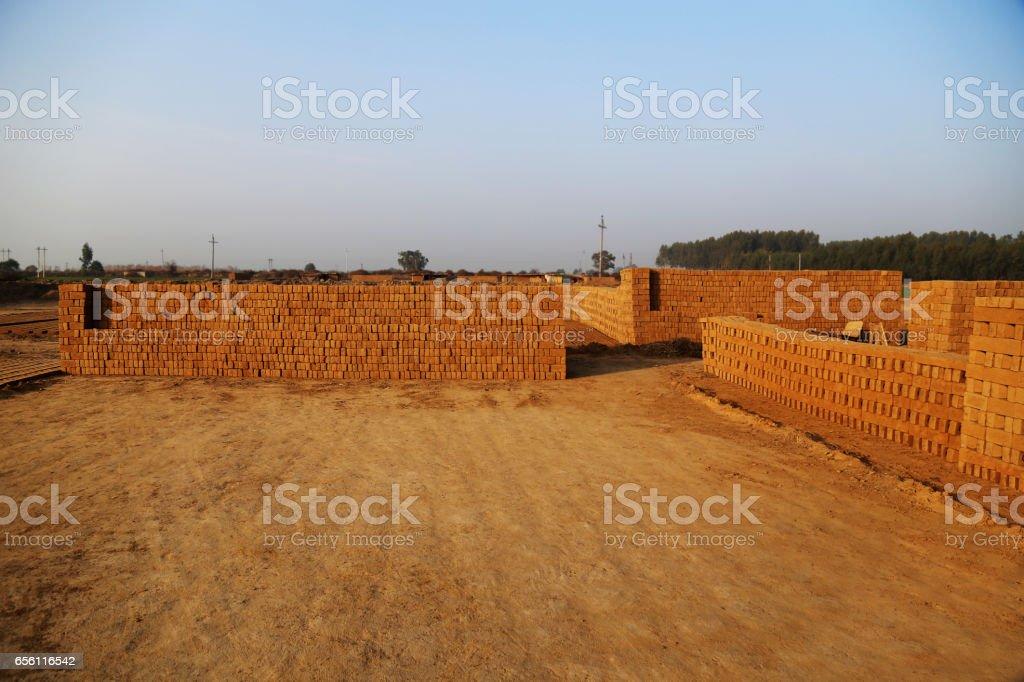 Bricks heap in kiln ! stock photo