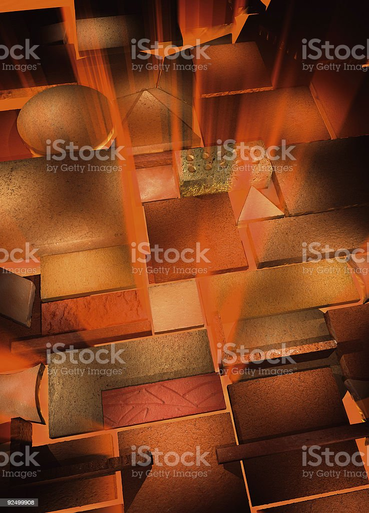 Bricks on fire royalty-free stock photo