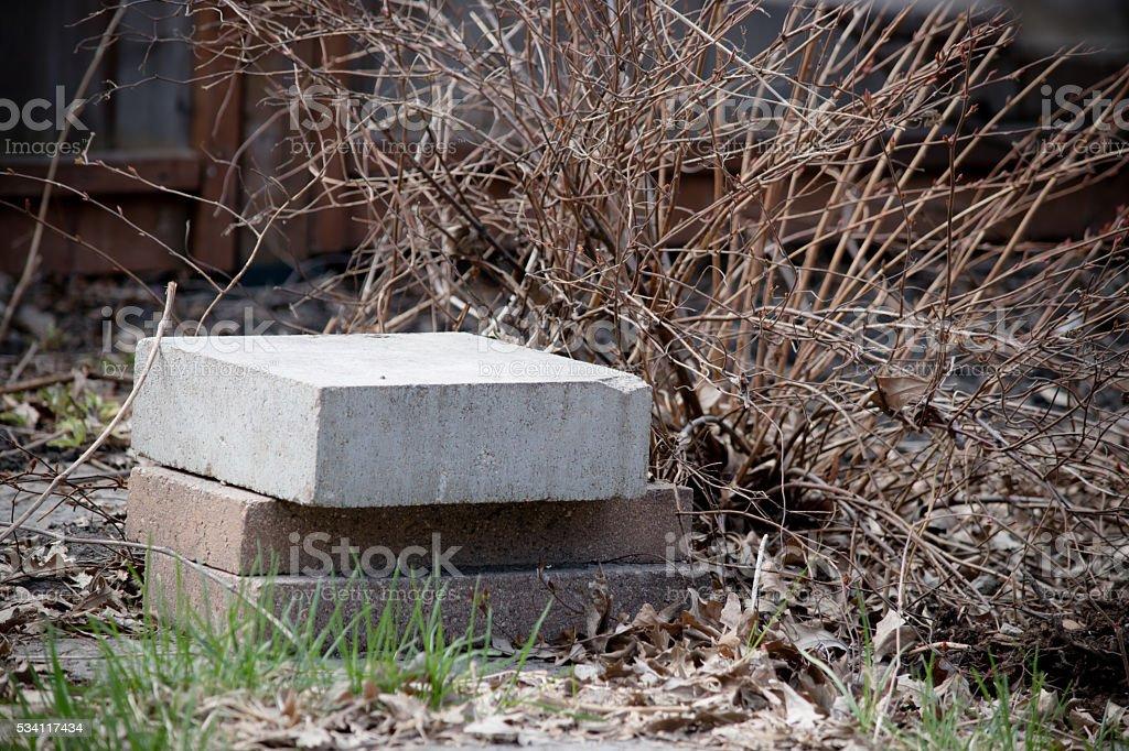 bricks on ground stock photo