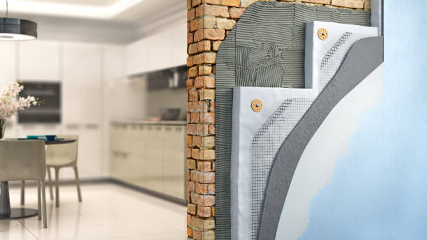 Brickwall thermal insulation by styrofoam with kitchen interior on background, 3d illustration stock photo