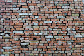 Brickwork. Wall of old brick. Brick structure. Stone structure