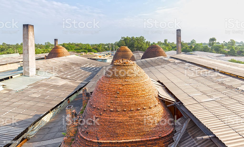 Brickyard rooftops view from above stock photo