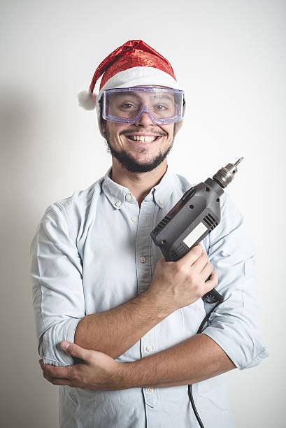 bricolage weihnachten elegante junge mann - diy xmas stock-fotos und bilder