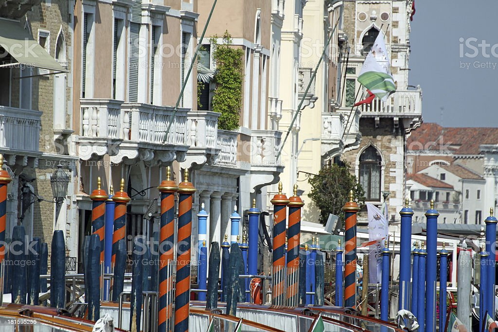 bricole and poles to anchor the gondola stock photo