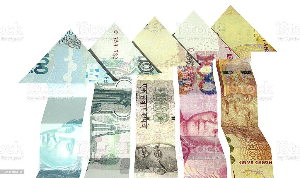 Brics Arrrow Notes Rising stock photo