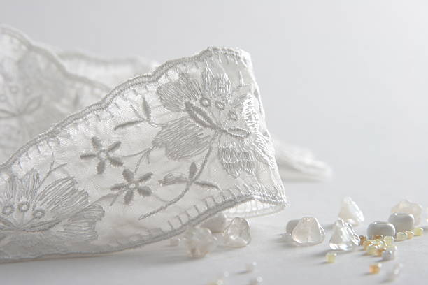 bridal accessories white ribbon and beads close up lace textile stock pictures, royalty-free photos & images
