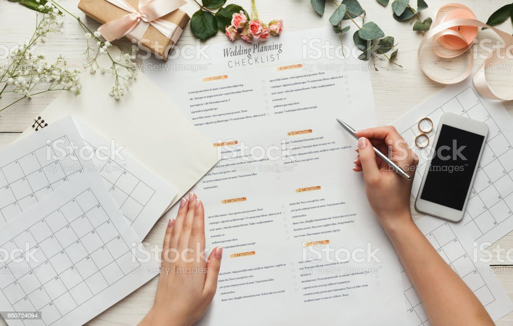 Bridal background with planner checklist stock photo