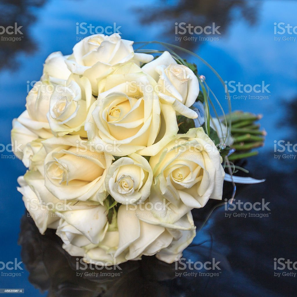 Bridal bouquet of white roses royalty-free stock photo