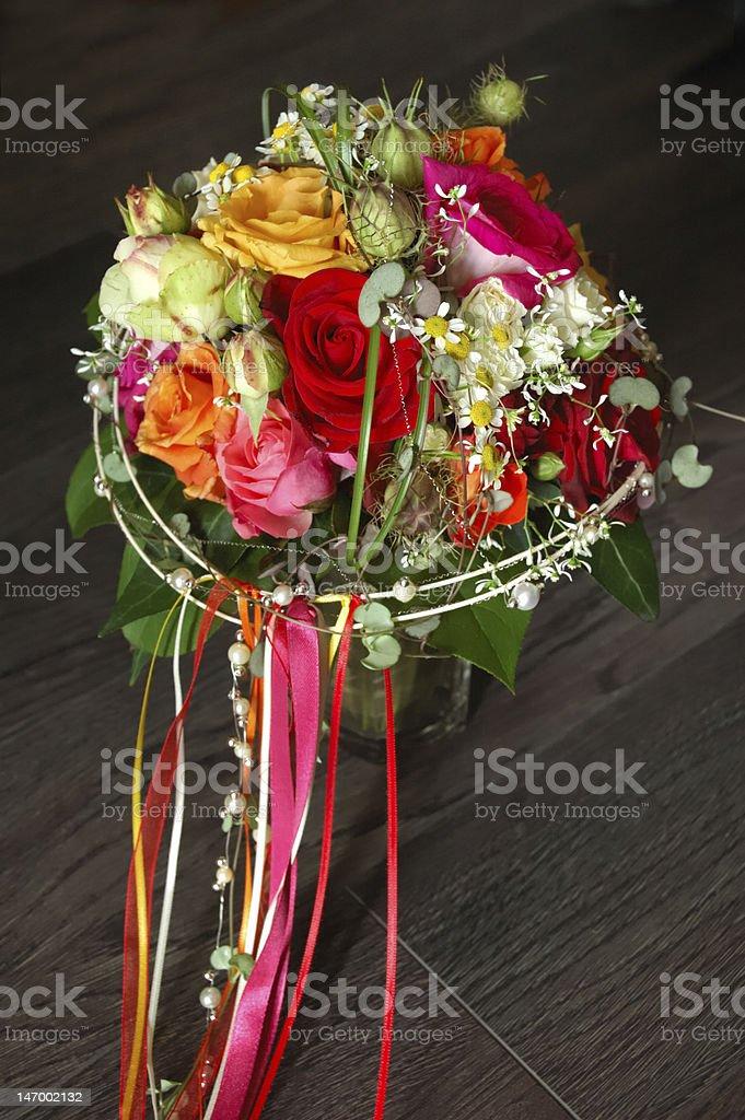 Brautstrauß mit fließenden Bändern royalty-free stock photo