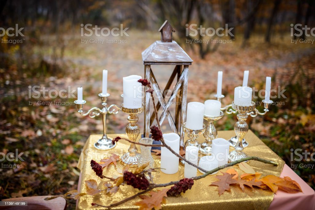 Bridal Details And Decorations Romantic Dinner At The Forest Stock Photo Download Image Now Istock