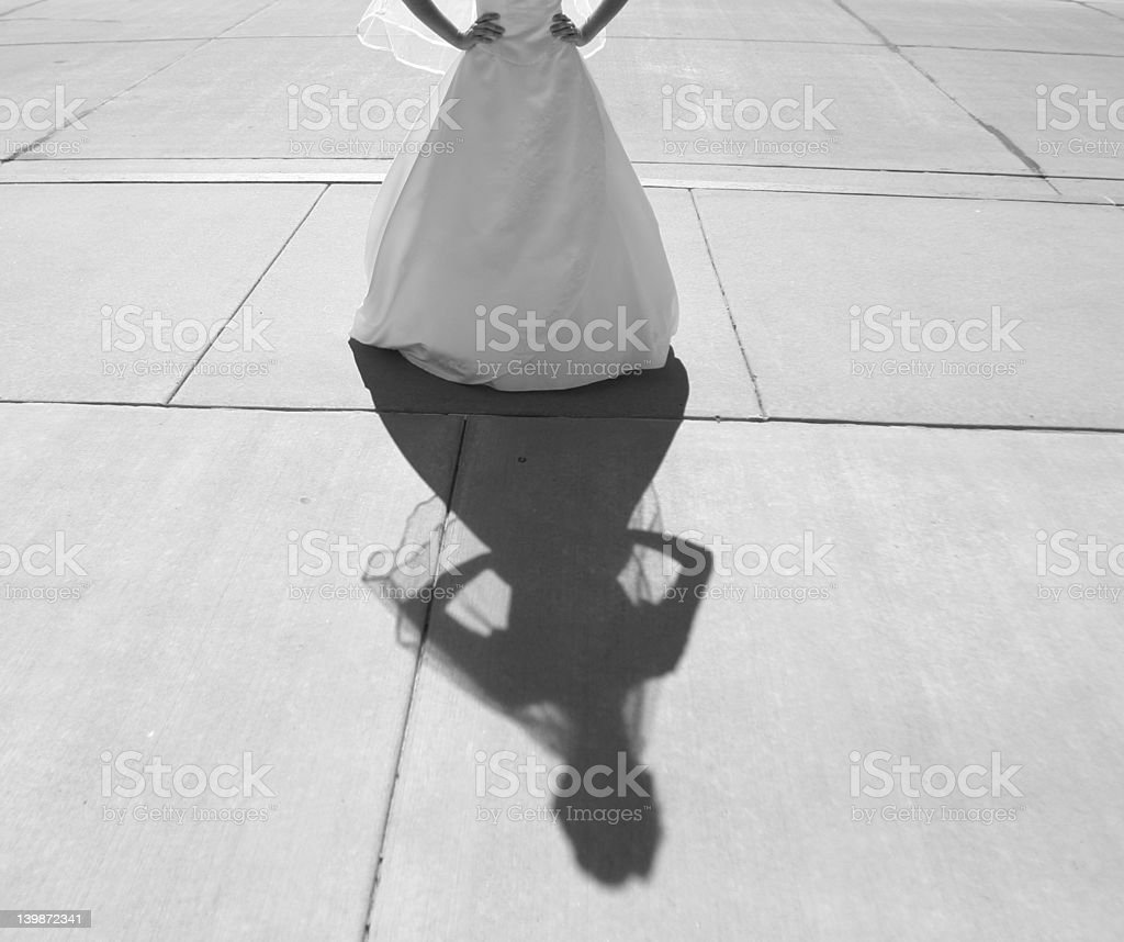 Bridal gown and shadow royalty-free stock photo
