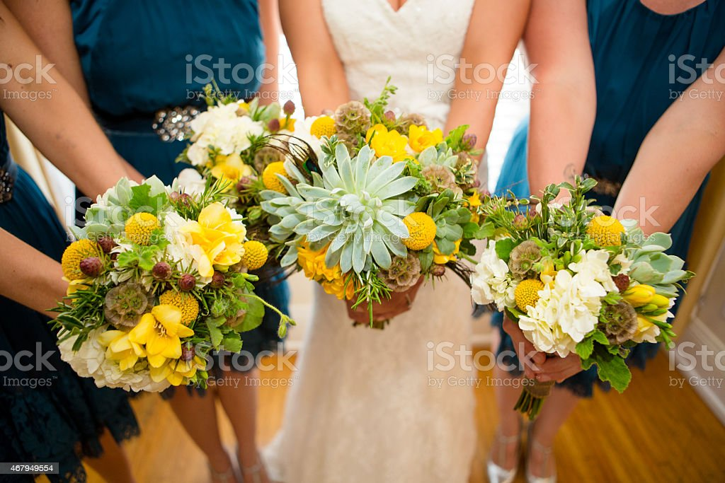 Bridal party flowers stock photo