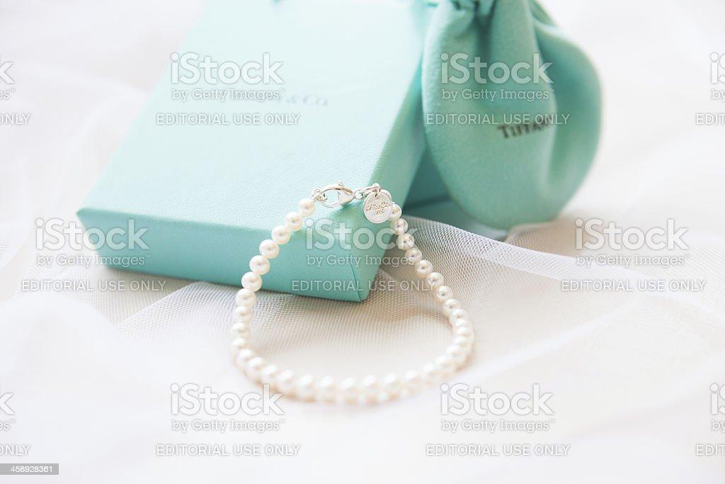 Bridal Pearl Bracelet by Tiffany& Co. stock photo