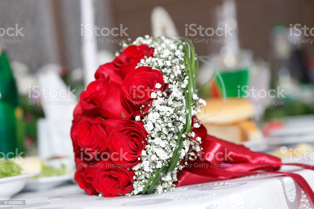 Bridal Red Wedding Bouquet Valentines Day Concept A Bouquet Of Flowers Bouquet Of A Red Roses Red Bouquet Of Red Roses At Wedding Stock Photo Download Image Now Istock