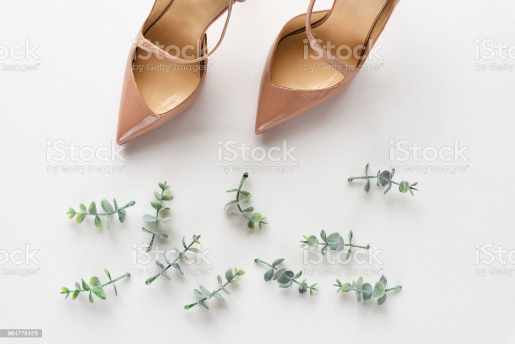Bridal shoes with oregano branches on white marble. Top view. royalty-free stock photo