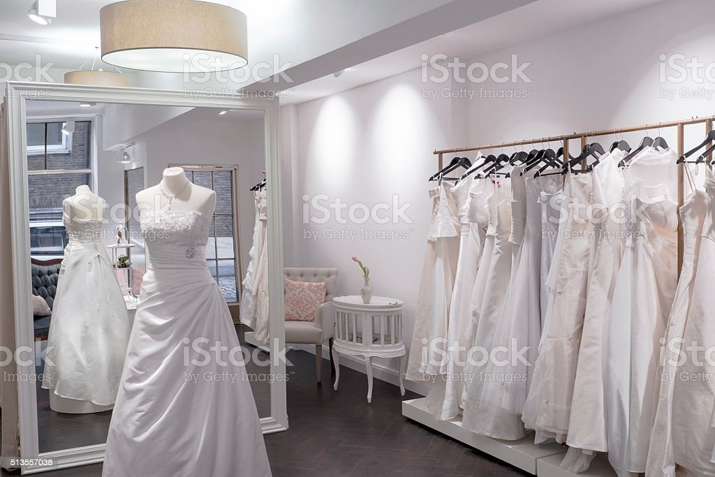 Bridal shop interior with large mirror stock photo