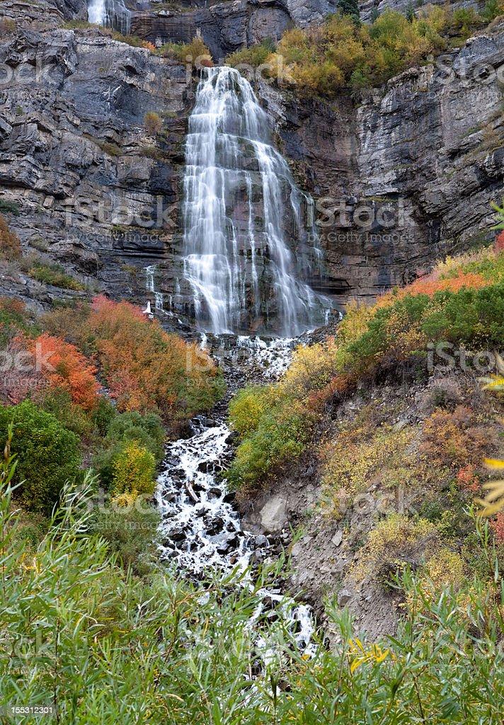 Bridal Veil Falls Utah in Autumn Colors stock photo