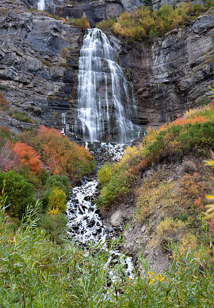 Wasserfall Bridal Veil in Utah im Herbst Farben – Foto