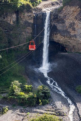 istock Bridal veil (Manto de la novia), waterfall in Cascades route, Banos, Ecuador 882085908