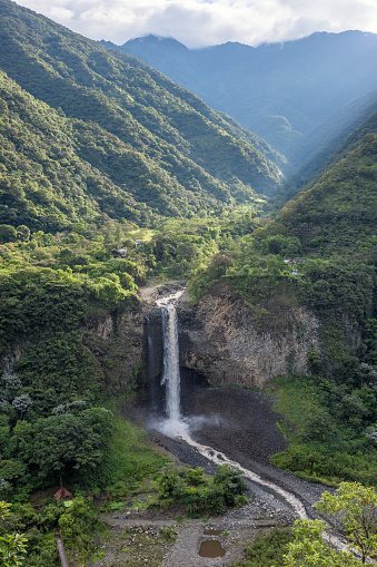istock Bridal veil (Manto de la novia), waterfall in Cascades route, Banos, Ecuador 882728756
