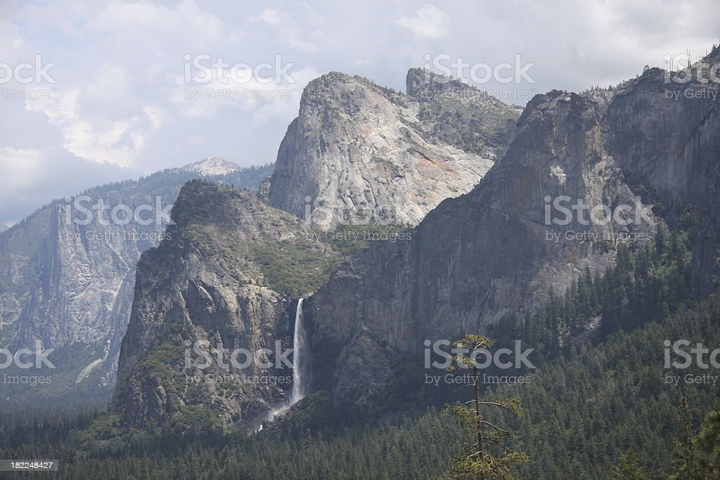 Bridalveil Fall and Cathedral Spires stock photo