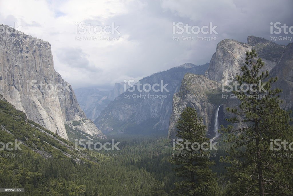 Bridalveil Fall, El Capitan and Cathedral Spires in Yosemite stock photo
