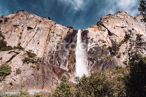 Bridalveil Fall in the united states yosemite national park