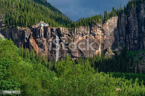 BridalVeil Falls Telluride Summer Landscape - Scenic views with iconic waterfall and box canyon.