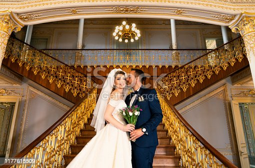 Bride, Bridegroom, Kissing, Wedding, Palace