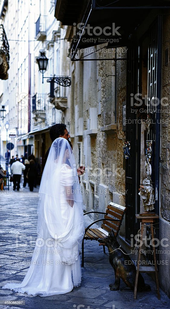 Bride and Broom in the Alleys royalty-free stock photo