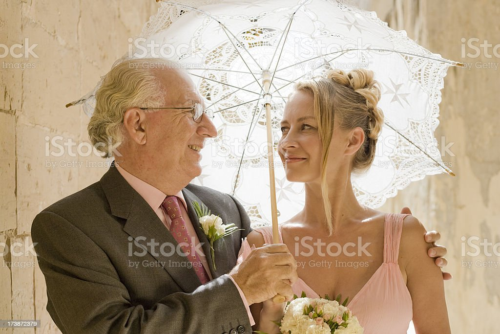 Bride and Father stock photo