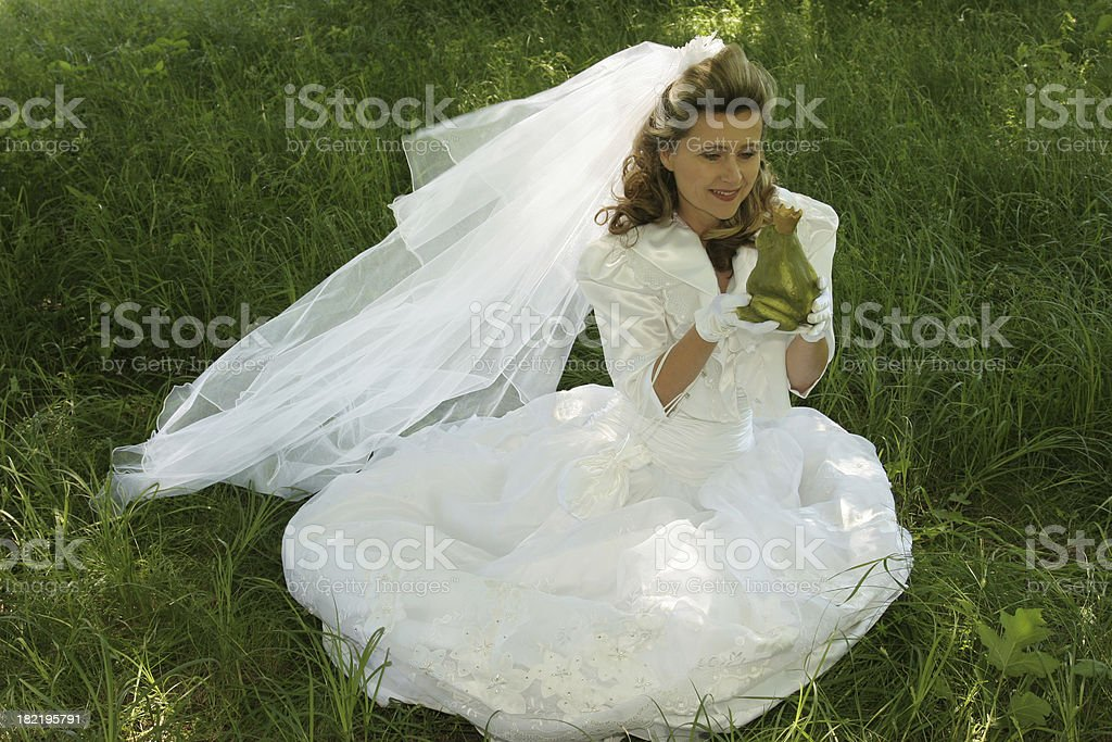 bride and frog prince stock photo