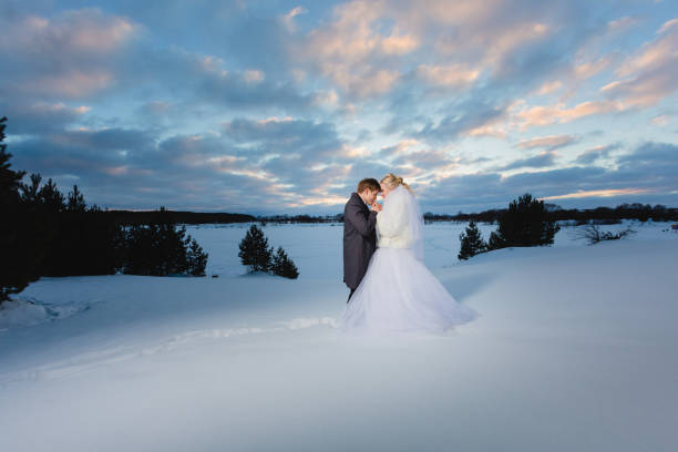 Bride and groom and winter lanscape stock photo