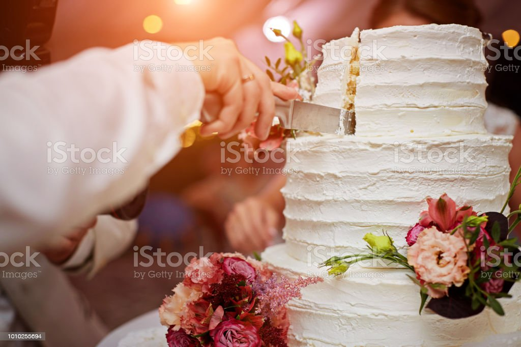 Bride And Groom Are Cutting Wedding Cake Stock Photo Download Image Now Istock