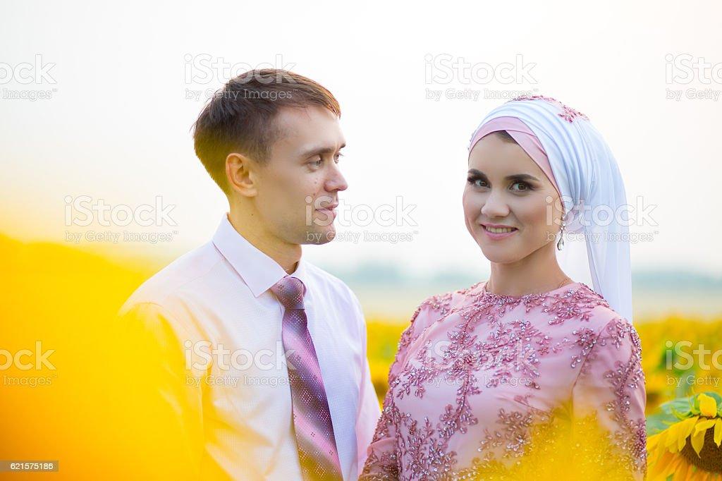 Bride and groom at a islamic wedding ceremony photo libre de droits