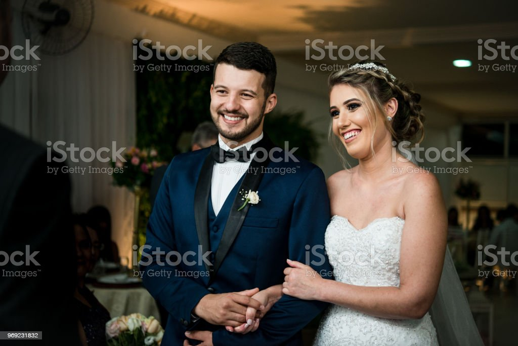 Bride and Groom at Wedding Ceremony stock photo